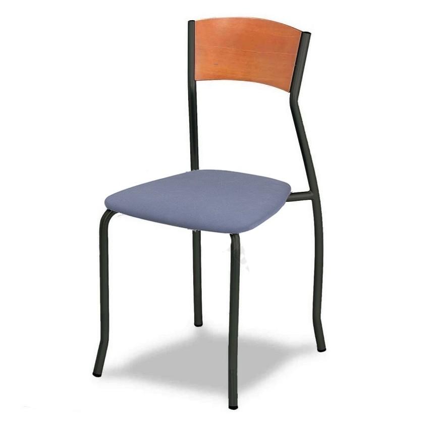Silla de bar MR155 asiento tapizado y respaldo de madera