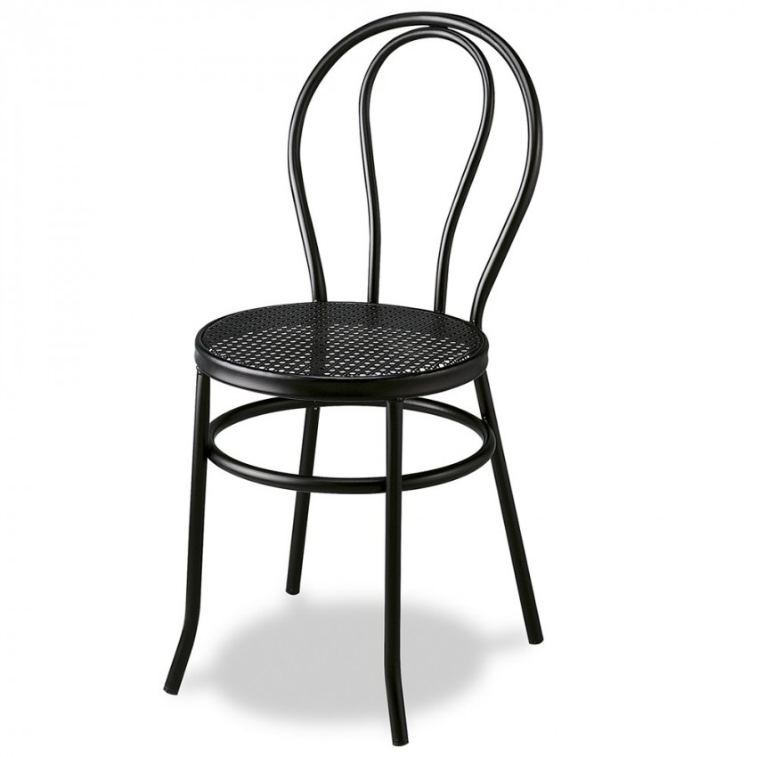 Silla de restaurante con asiento de rejilla metalica thonet - Silla metalica apilable ...