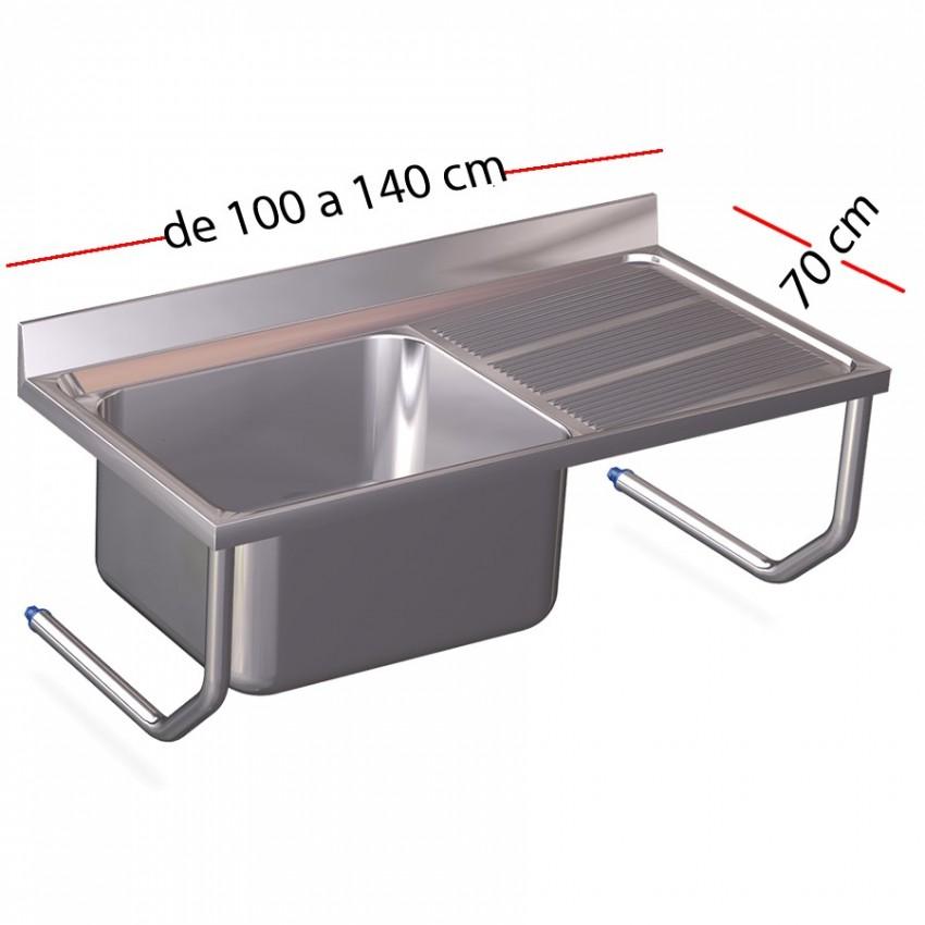 Fregadero inox colgante de tubos 120 x 60 cm de fondo