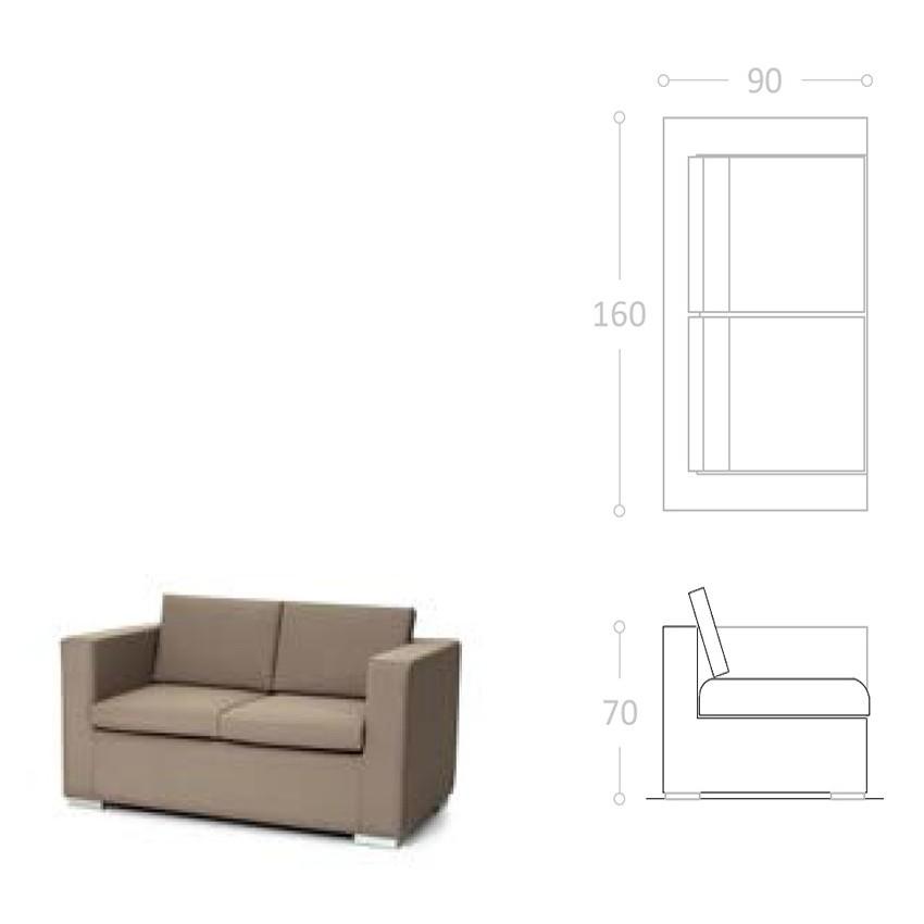 Sofa doble con brazos y tela impermeable club for Sofa tela nautica