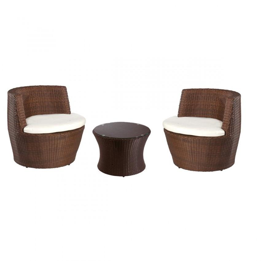 Sillones de rattan apilables con mesa peque a redonda ojen for Sofas para terrazas pequenas