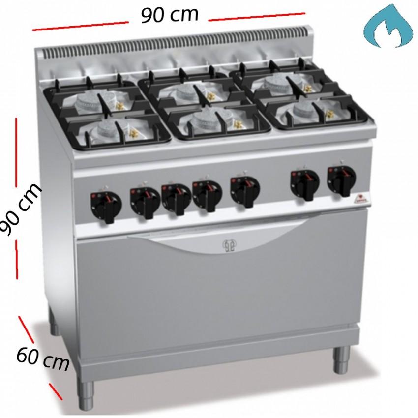 Cocina + Horno a Gas ECO sobremesa 6 Fuegos 34.5 Kw. industrial