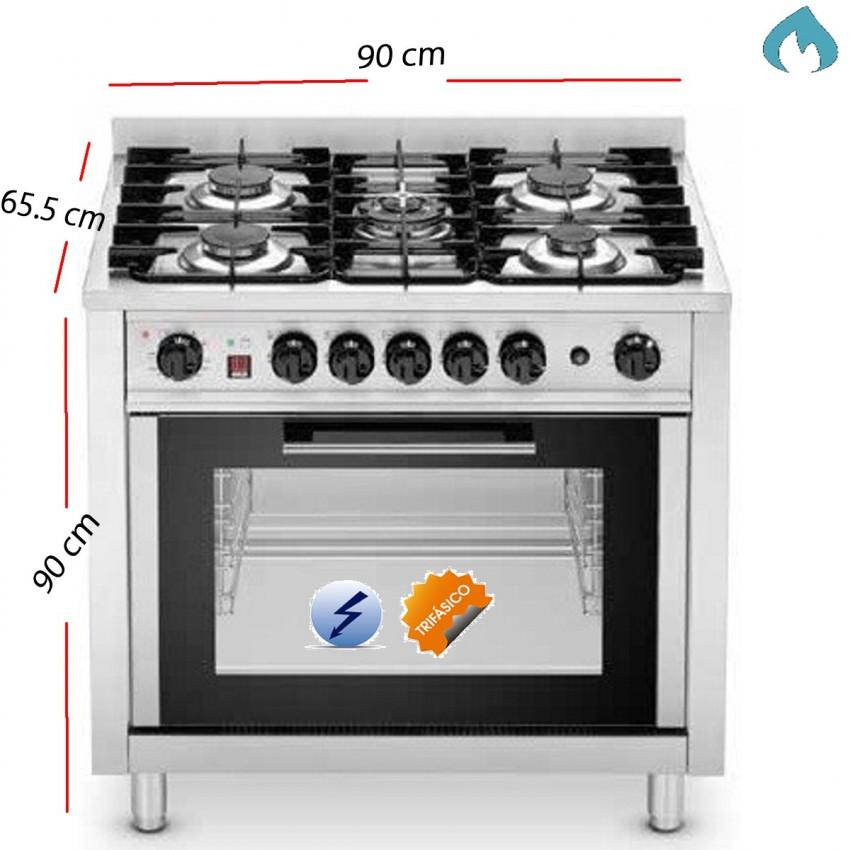 Cocina industrial a gas con 5 fuegos y horno trifasico for Hornos de cocina electricos