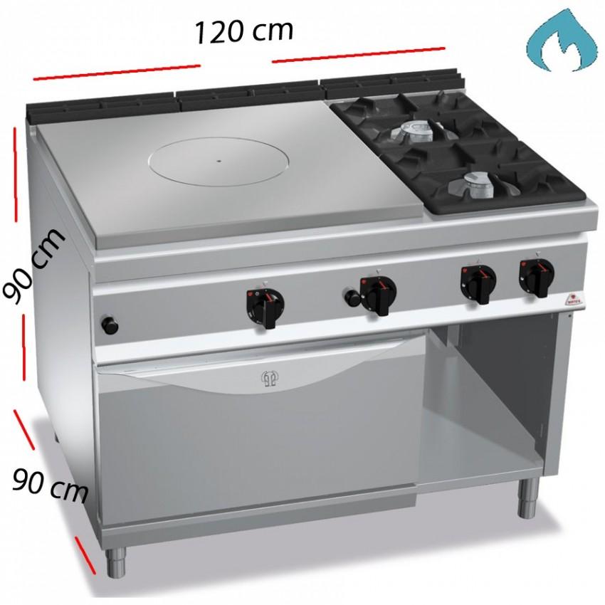 Cocina a Gas con Placa y Horno - 2 Fuegos 12 y 7 Kw.