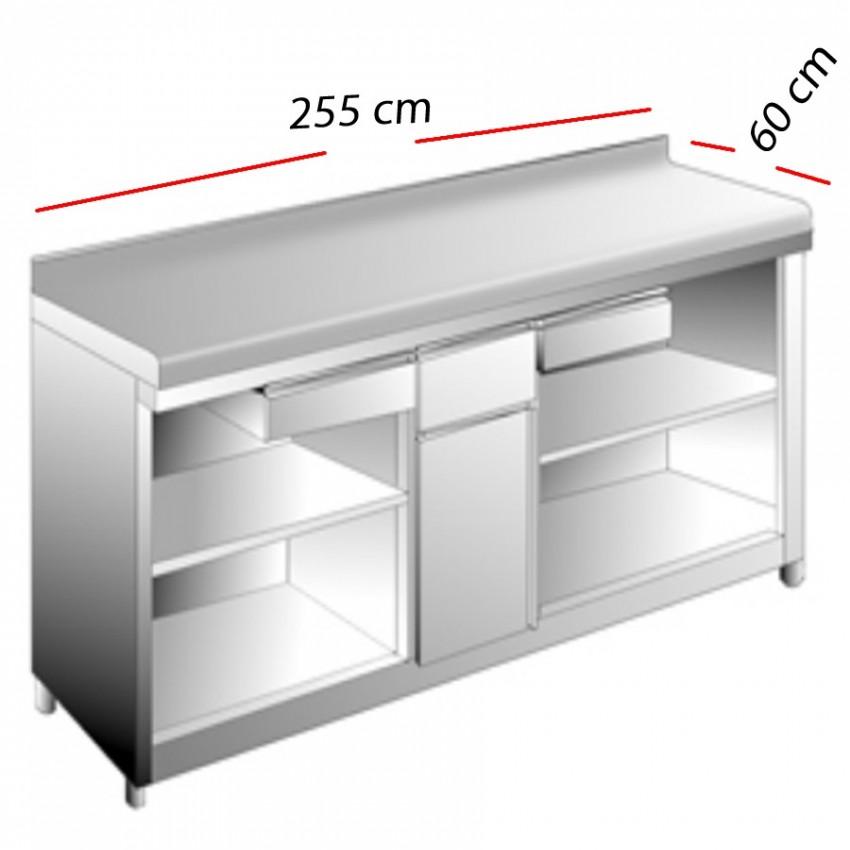 Mesas Cafeteras en Inox 255x60 - MAC-2560