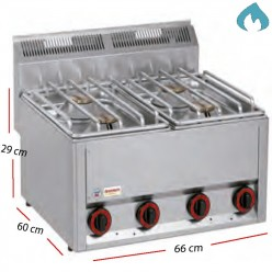 Cocinaa Gas  Eco Fondo 60- 4 Fuegos 3 - 3.6 Kw