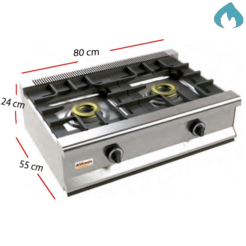 Cocina Gas Fondo 55- 2 Fuegos 8 Kw.