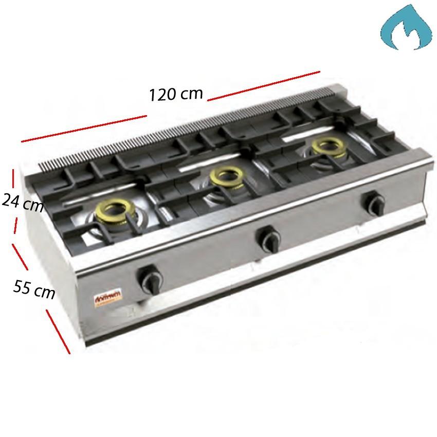 Cocina Gas Fondo 55- 3 Fuegos 8 Kw.