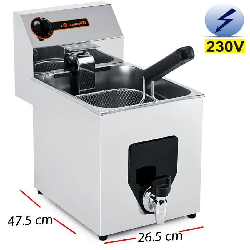 Freidora Electrica inox con grifo 8 Litros - 3.5Kw.