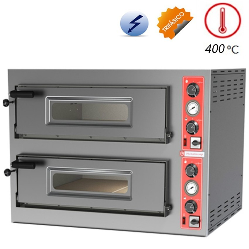 Horno de Pizza Doble Industrial 8- Ø 33 cm. 11.2 Kw -ENTRY-8