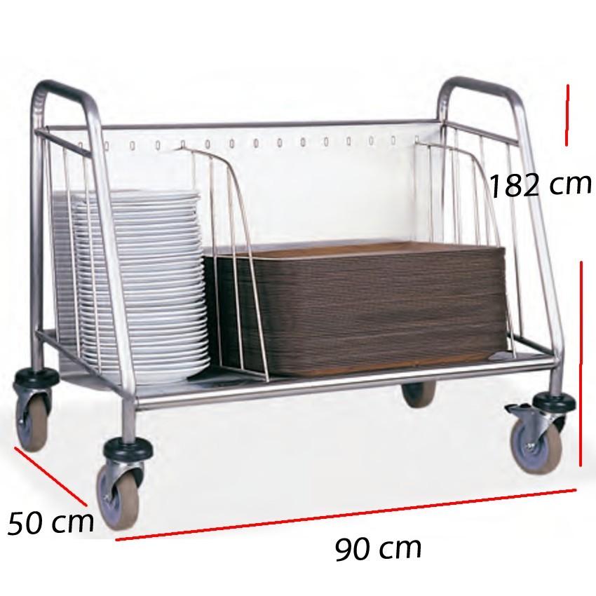 Carro para bandejas autoservicio y platos- 90 x 50 cm.