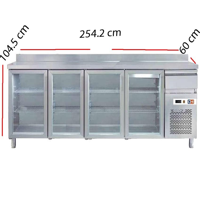 Frente mostrador frío 4 P.cristal Fondo 60 cm- FMCH-250V