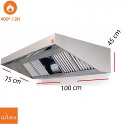 Campana inox ECO PLUS motor 400º 2H de 100 x 75 cm y 43.5 cm de alto