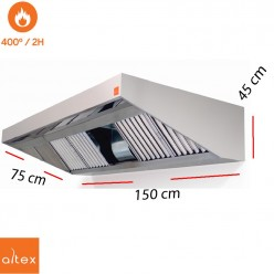 Campana inox ECO PLUS  400º 2H 9/9 3/4 de 100 x 75 cm.