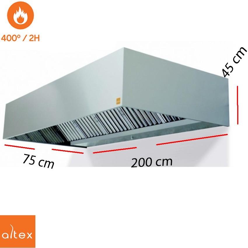Campana inox ECO PLUS 400º 2H 9/9 3/4 de 200 x 75 cm.
