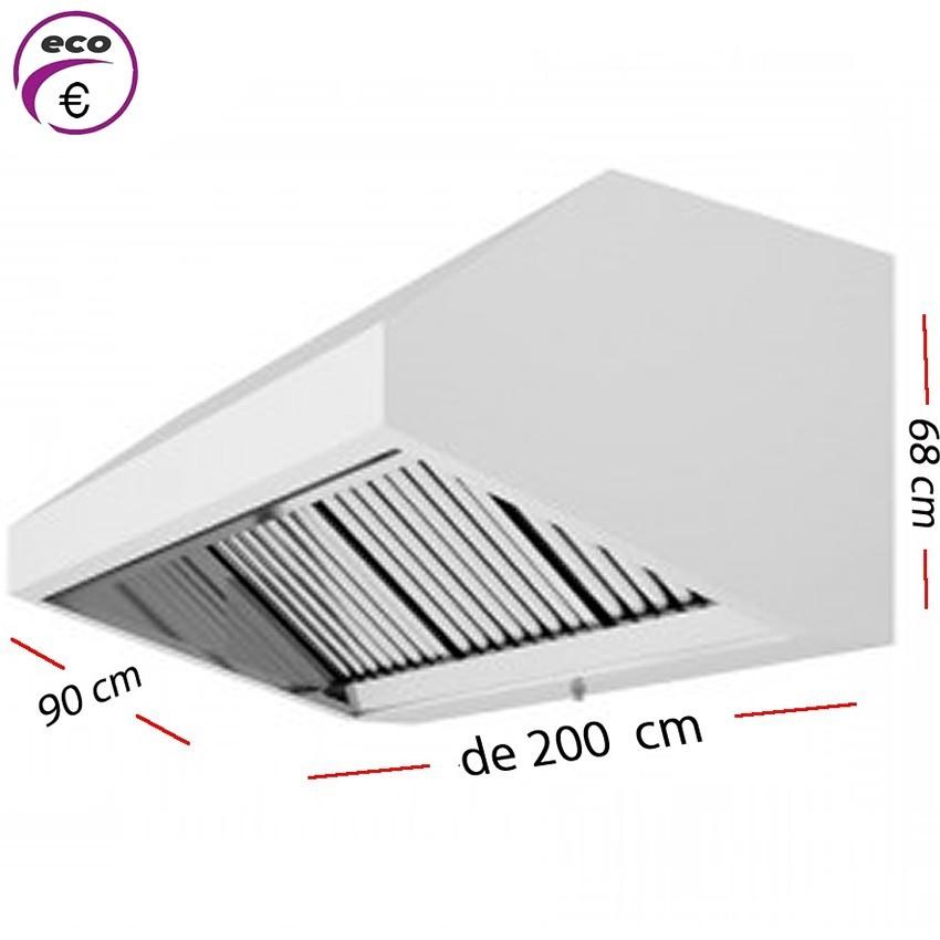 Campana industrial de 1200 x 95 cm y 70 cm de alto