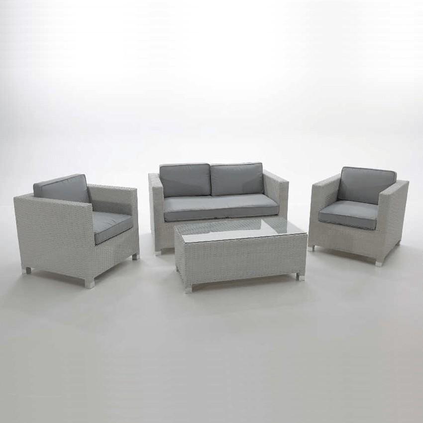 Conjunto de muebles de jardín Lopera en ratán blanco