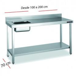 Mesa inox con cubeta izq con estante 100 x 70 cm