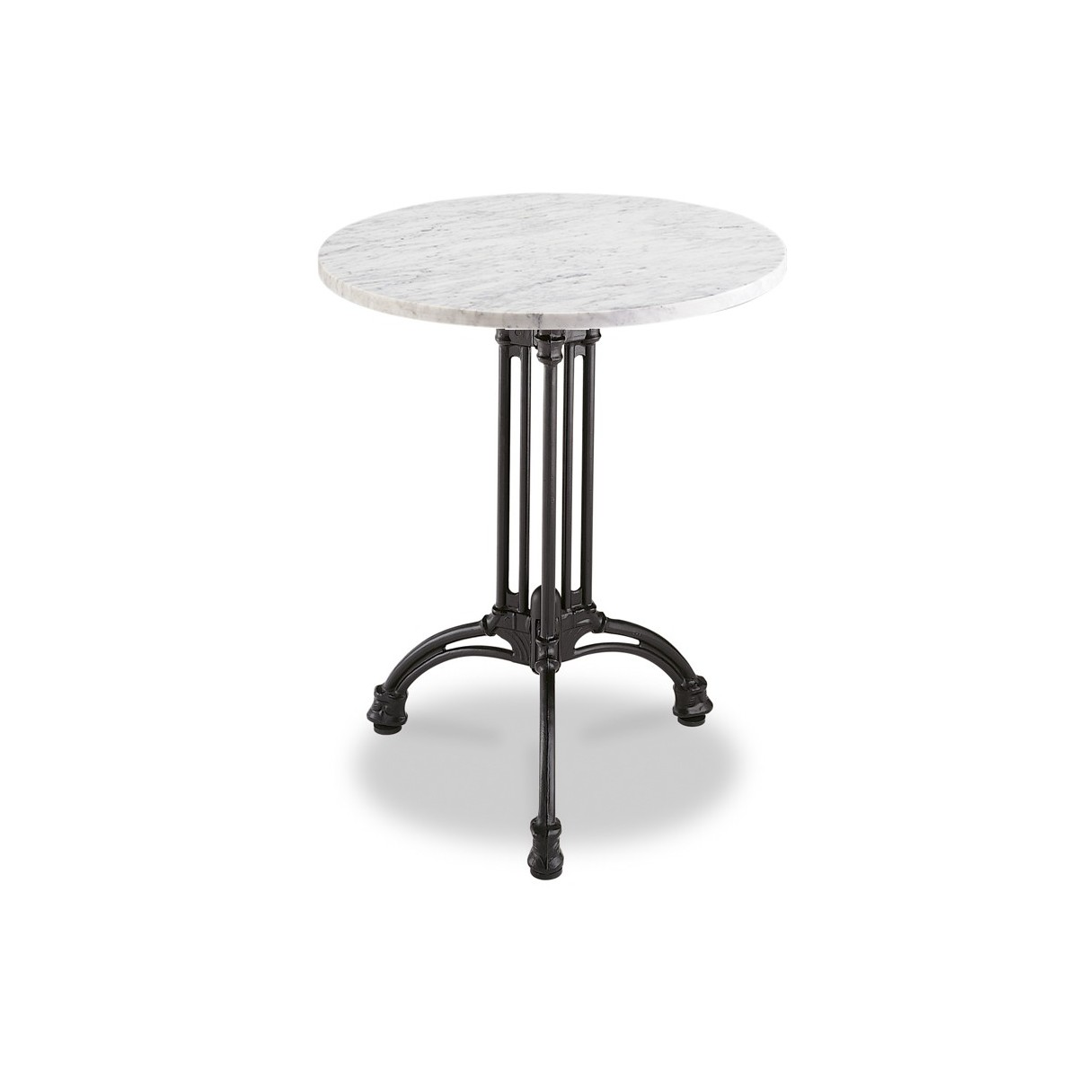 Mesa de mármol redonda 60 cm con pie de hierro