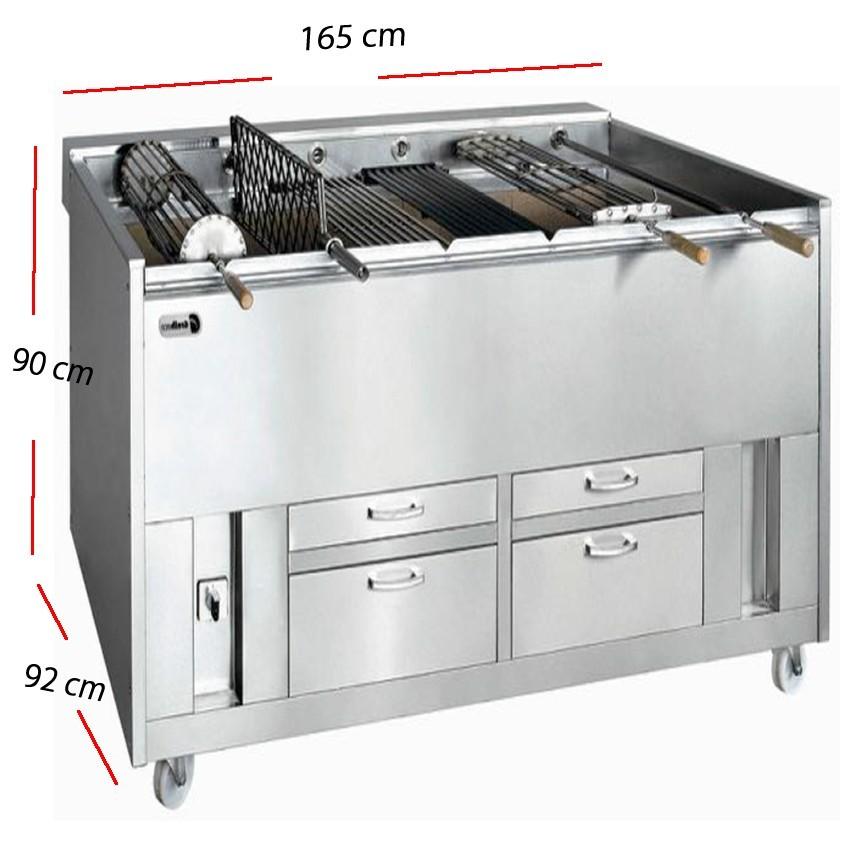 Barbacoa de carbón vegetal- 125x60- CAVE 600-125
