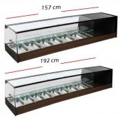 Vitrina Doble de frío Cristal Plano 4 Cubetas GN 1/3.