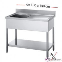 Fregadero inox  100 x 70 cm sin estante - 1 Cubeta esc Dcha