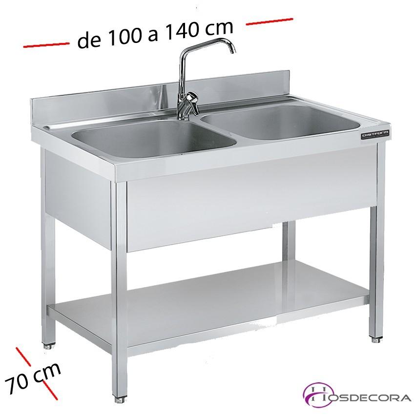 Fregadero inox 100 x 70 cm con estante - 1 Cubeta