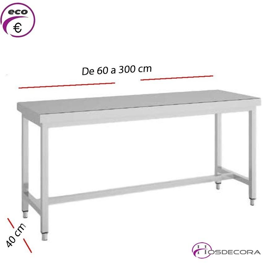 Mesa de trabajo en inox para cocinas fondo 40 cm - Mesa de trabajo cocina ...