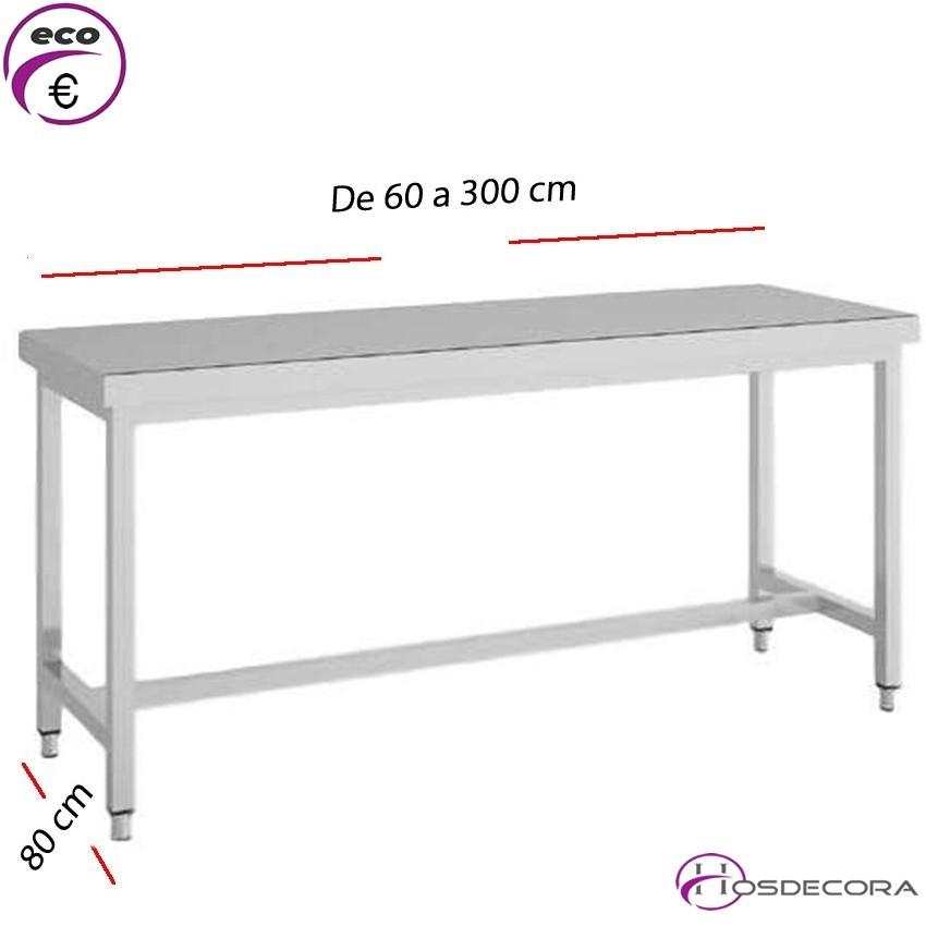 Mesa de trabajo fondo 80 cm- Largo de 60 a 300 cm.