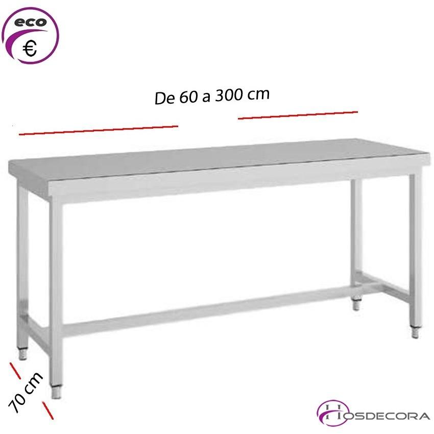 Mesa de trabajo fondo 70 cm- Largo de 60 a 300 cm.