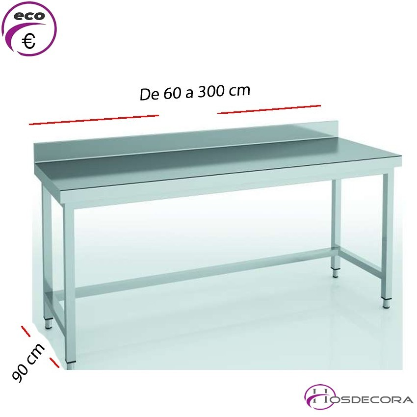 Mesa de trabajo con peto fondo 90 cm- Largo de 60 a 300 cm.