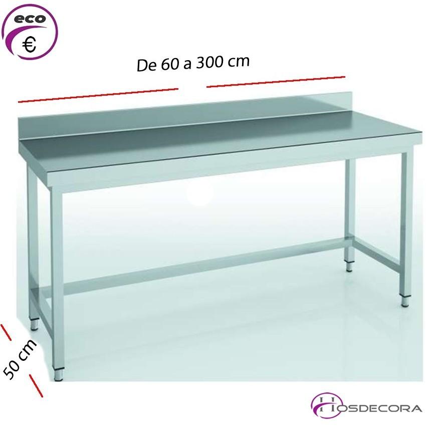 Mesa de trabajo con peto fondo 50 cm- Largo de 60 a 300 cm.