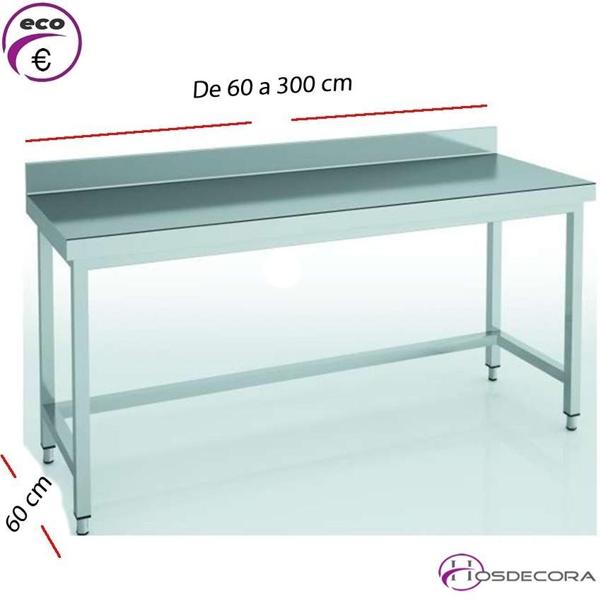 Mesa de trabajo con peto fondo 60 cm- Largo de 60 a 300 cm.