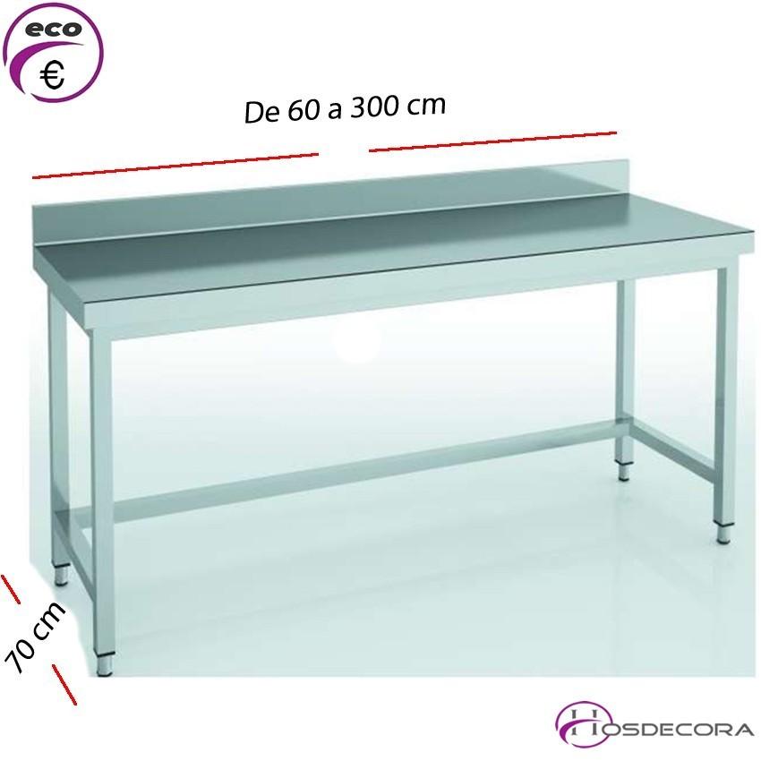 Mesa de trabajo con peto fondo 70 cm- Largo de 60 a 300 cm.