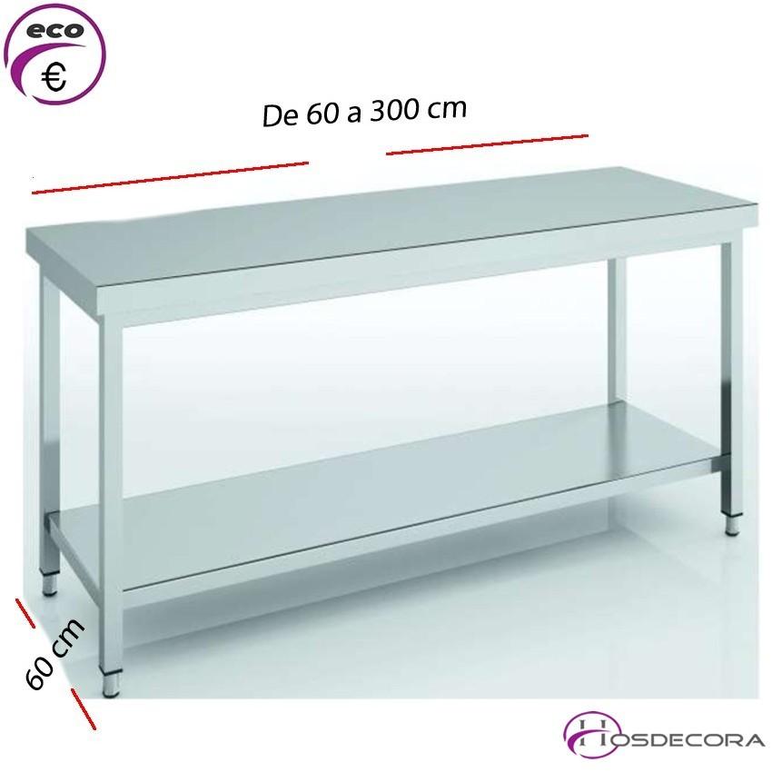 Mesa de trabajo con estante fondo 60 cm- Largo de 60 a 300 cm.