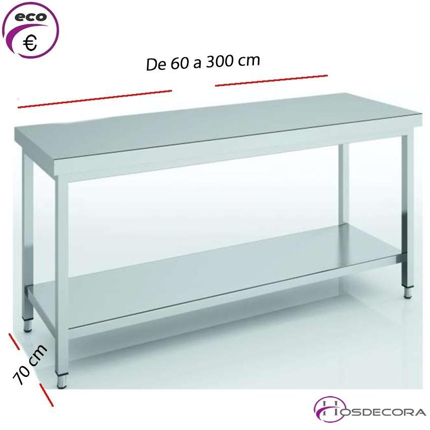 Mesa de trabajo con balda fondo 70 cm- Largo de 60 a 300 cm.