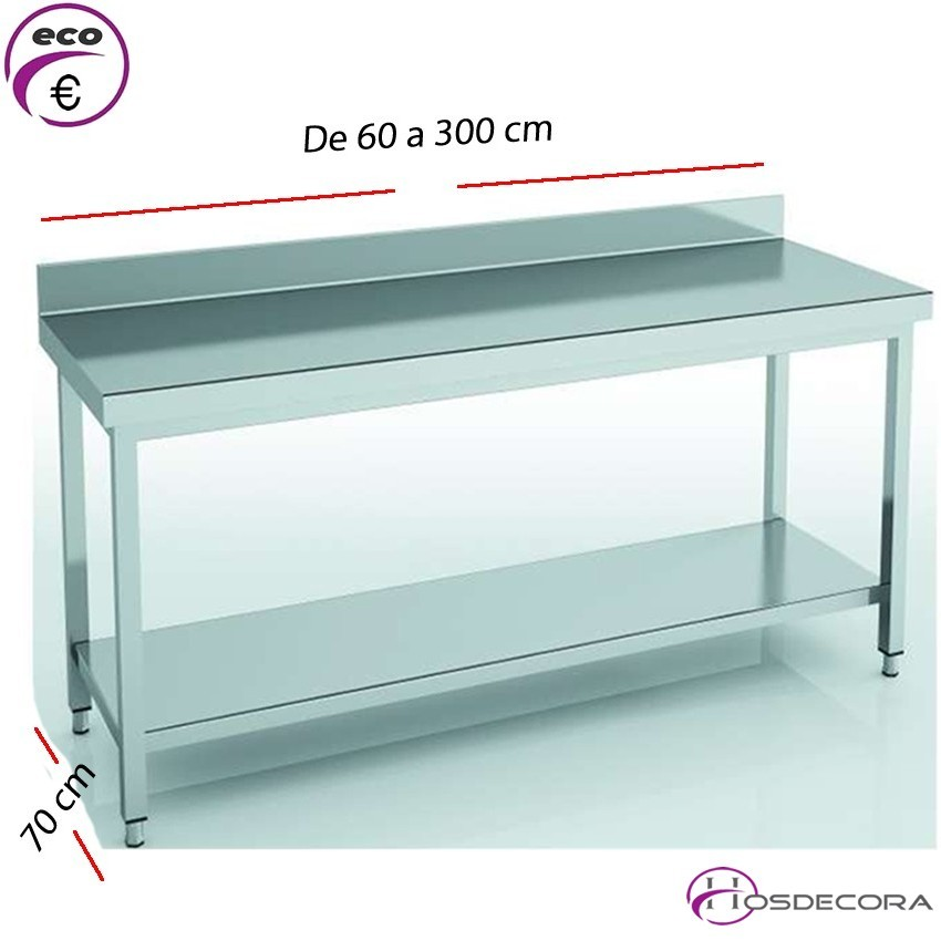 Mesa de trabajo peto-estante fondo 70 cm- Largo de 60 a 300 cm.