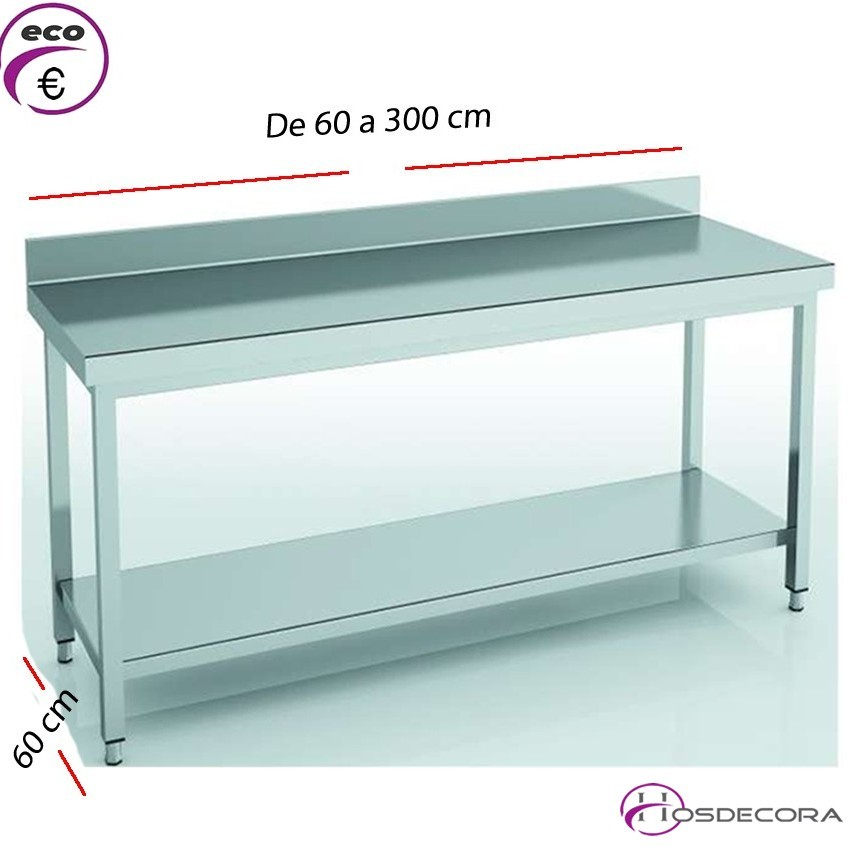 Mesa de trabajo peto-estante fondo 60 cm- Largo de 60 a 300 cm.
