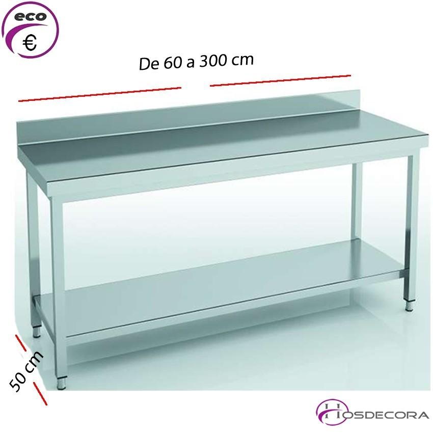 Mesa de trabajo peto- estante fondo 50 cm- Largo de 60 a 300 cm.