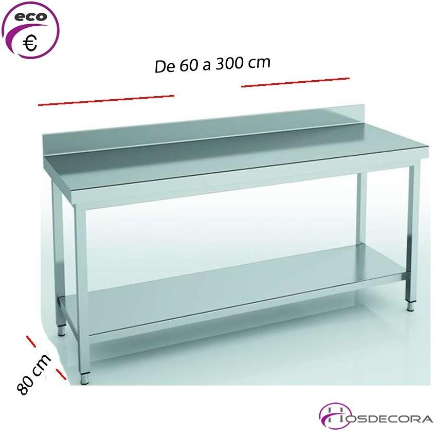 Mesa de trabajo Mural y estante fondo 80 cm- Largo de 60 a 300 cm.