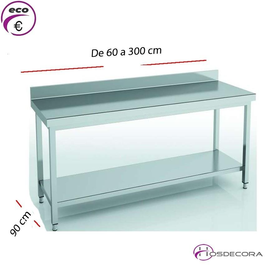 Mesa de trabajo Estante y Peto fondo 90 cm- Largo de 60 a 300 cm.