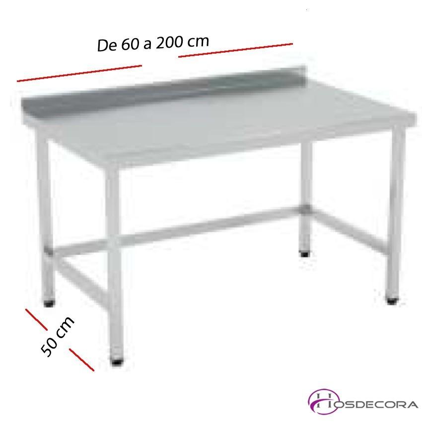 Mesa de trabajo SOLDADAS con peto fondo 50 cm- Largo de 60 a 200 cm.