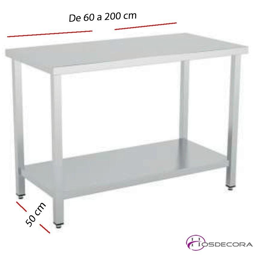 Mesa de trabajo con Estante fondo 50 cm- Largo de 60 a 200 cm.