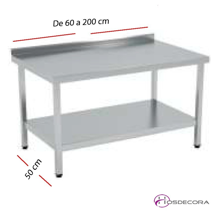 Mesa de trabajo Peto-estante SOLDADAS fondo 50 cm- Largo de 60 a 200 cm.