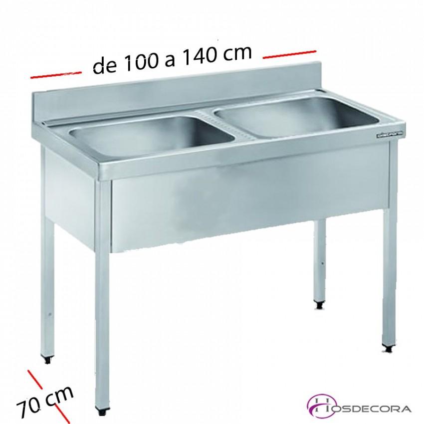 Fregadero inox 100 x 70 cm sin estante - 2 Cubeta