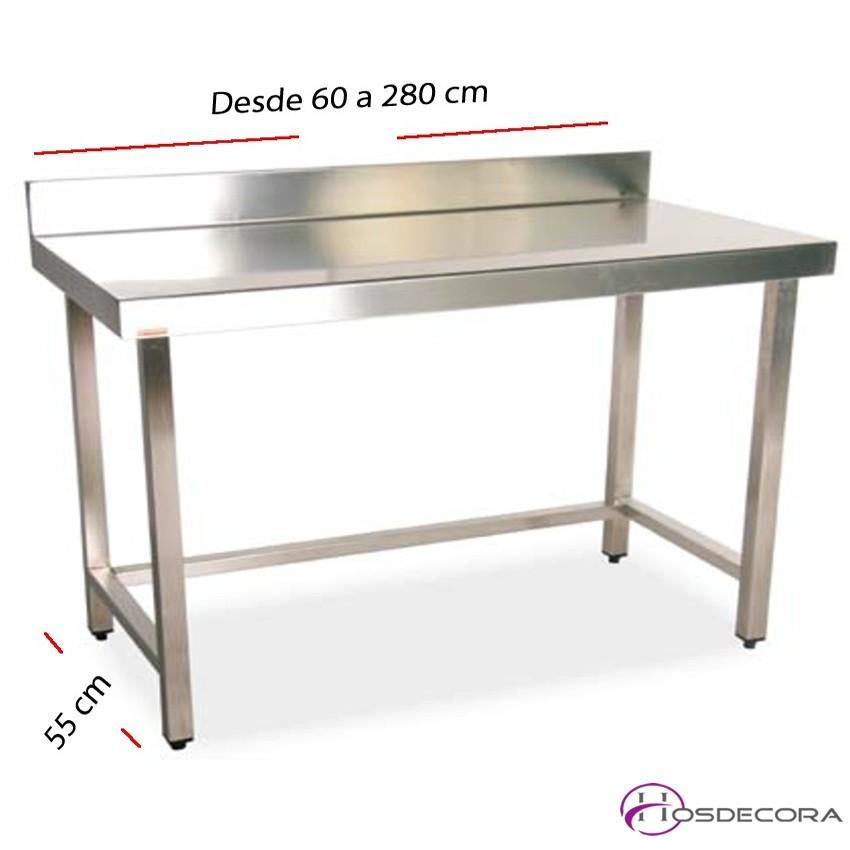 Mesa de trabajo con peto fondo 55 cm- Largo de 60 a 280 cm.
