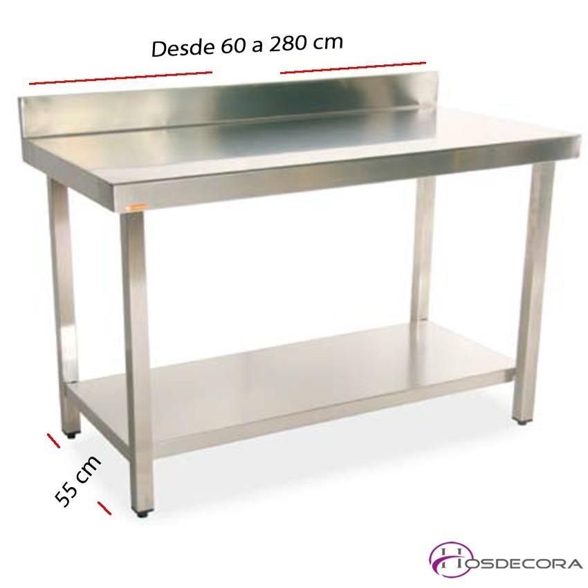 Mesa de trabajo inox con estante 55 cm- Largo de 60 a 280 cm.