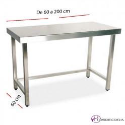 Mesas de fondo 60 cm en inox para la cocina industrial for Mesa de trabajo dimensiones