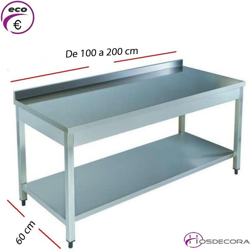 Mesa acero inox Central con estante 150 x 60 cm