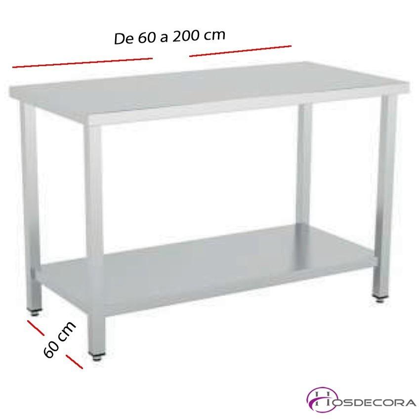 Mesa de trabajo con Estante fondo 60 cm- Largo de 60 a 200 cm.